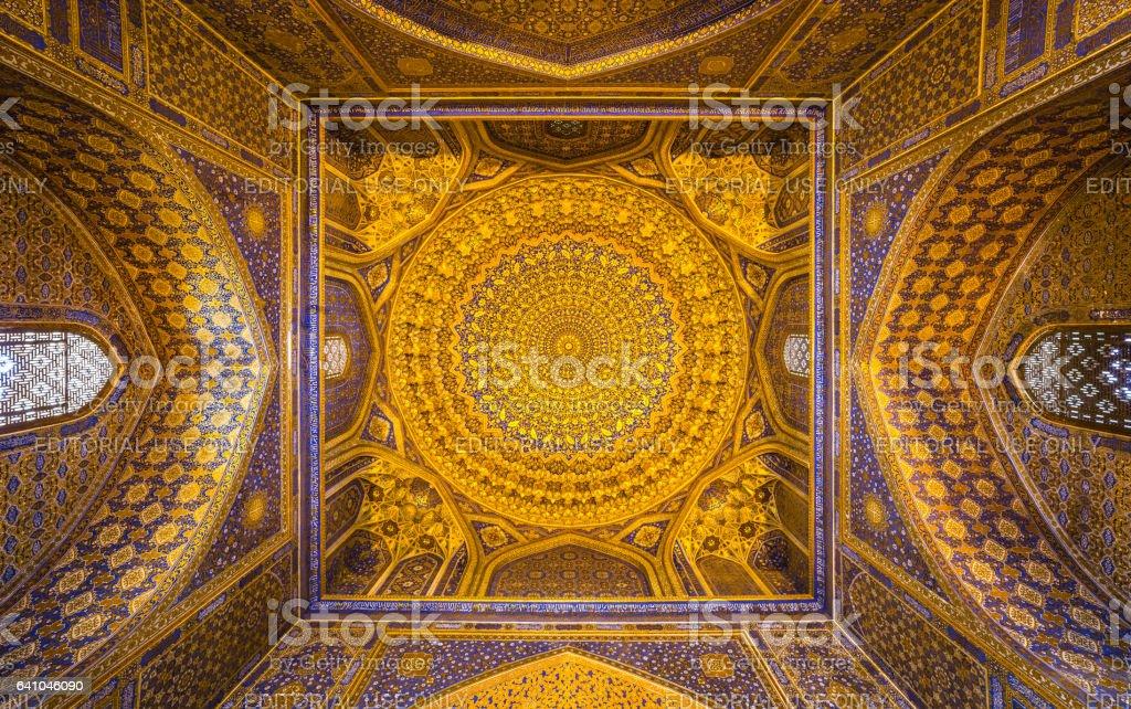 Gold mosaic dome in Tilya Kori Madrasah, Samarkand, Uzbekista stock photo