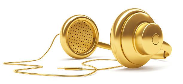 3D Gold Music Dj Headphone stock photo