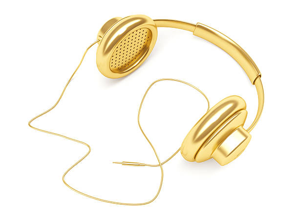 3D Gold Music Dj Headphone with wire stock photo