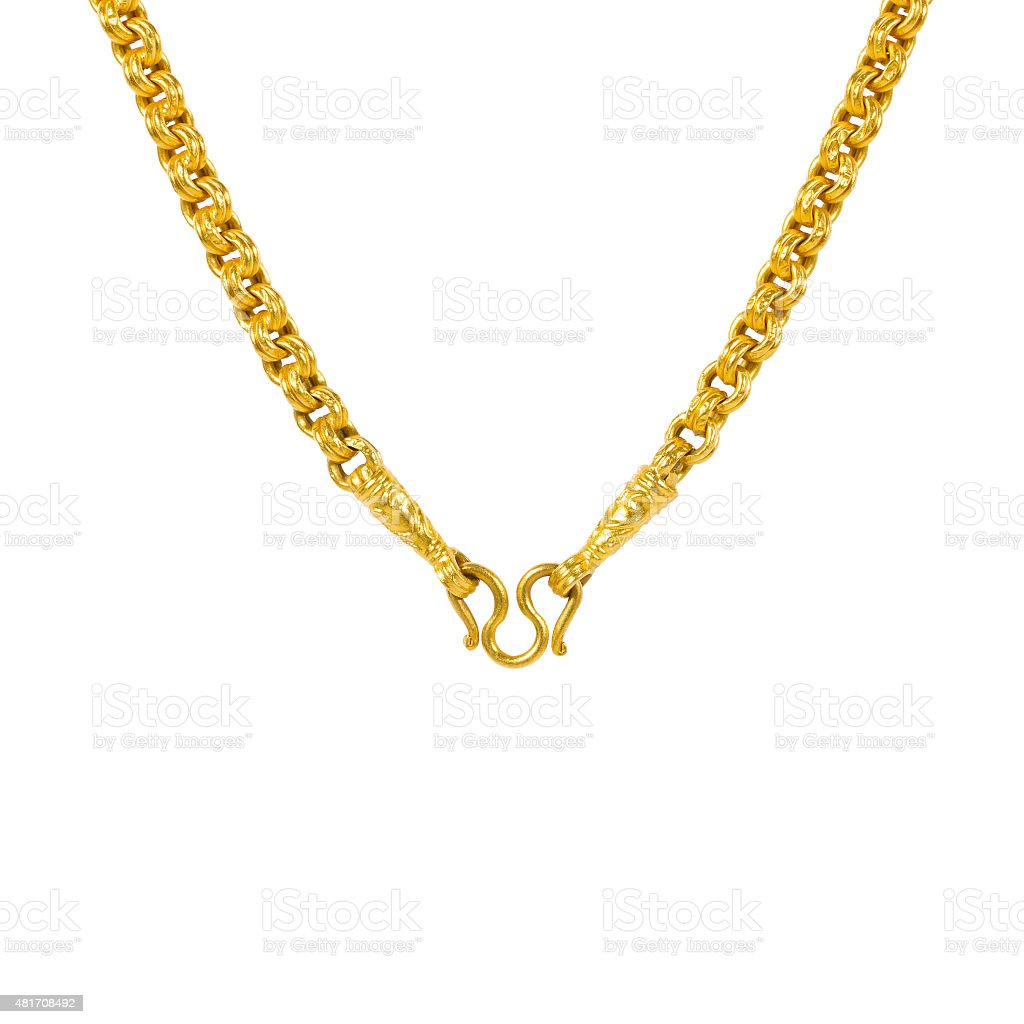 Gold necklace isolated on white stock photo