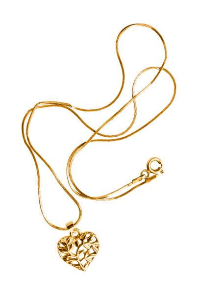 Altın kolye izole stok fotoğrafı