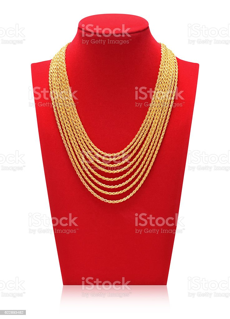 Gold necklace. stock photo