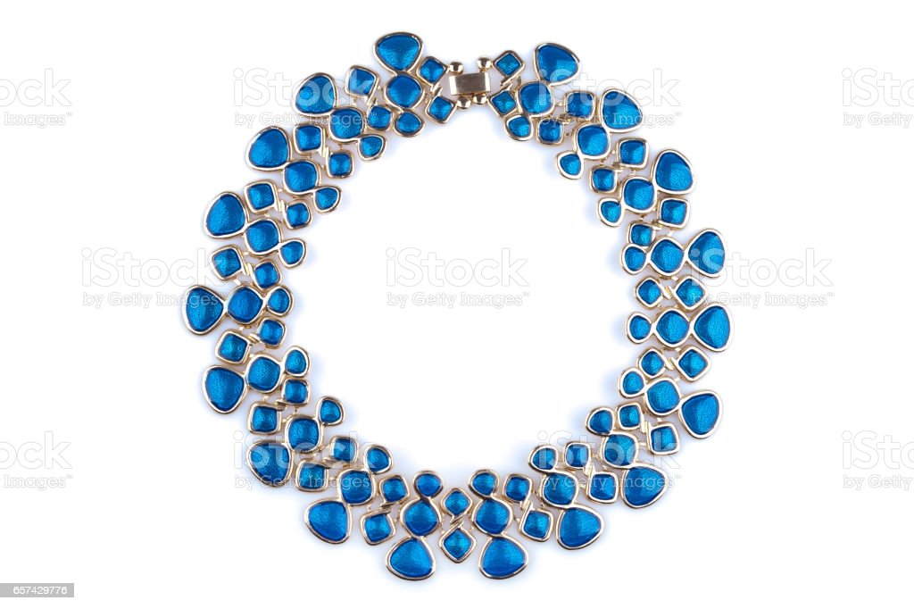 Gold necklace with blue rhinestones stock photo