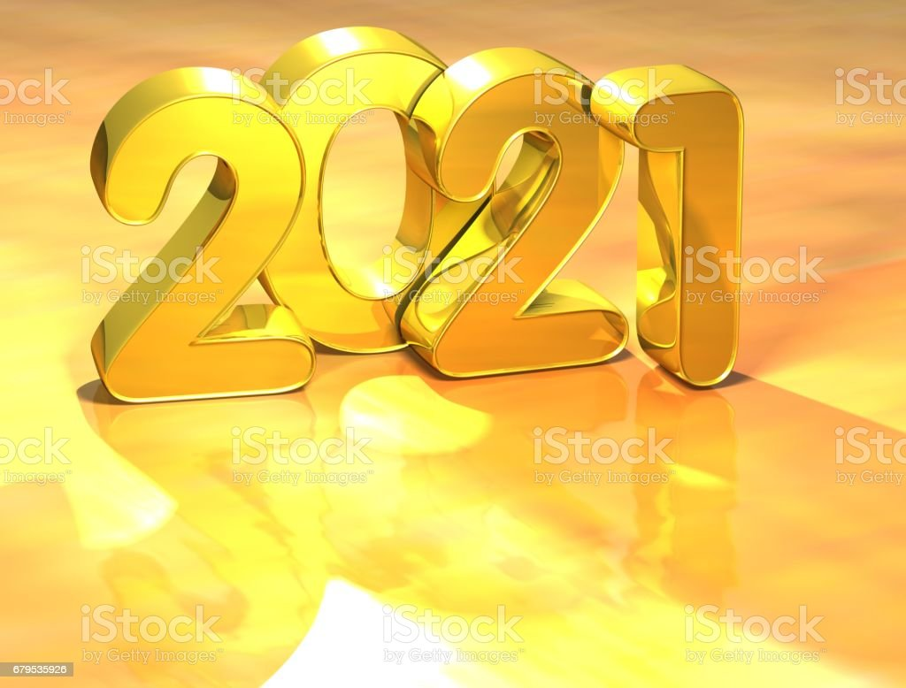 3D Gold New Year 2021 on white background royalty-free stock photo