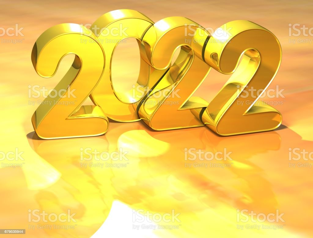 3d gold new year 2022 on white background royalty free stock photo