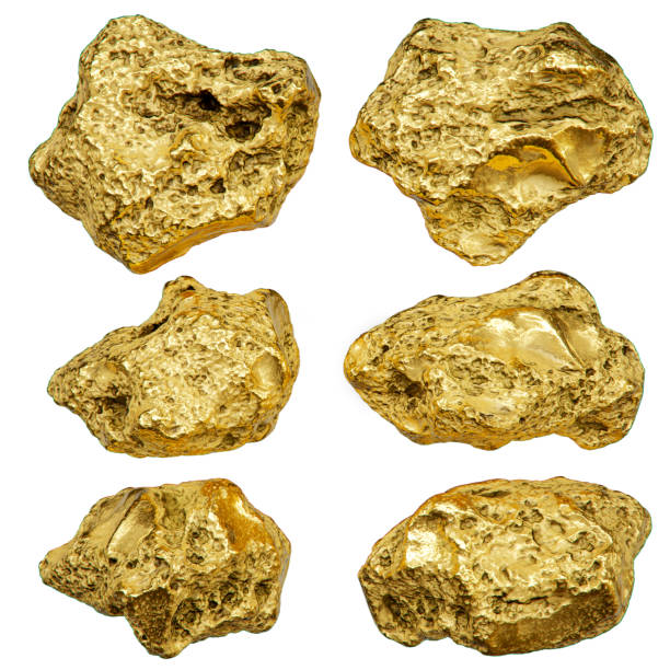 Gold nugget isolated on white background. 3d rendering. stock photo