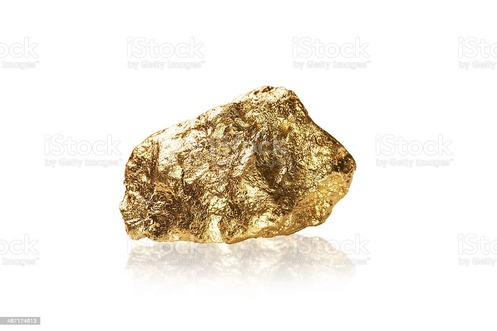 Gold nugget on white background. royalty-free stock photo