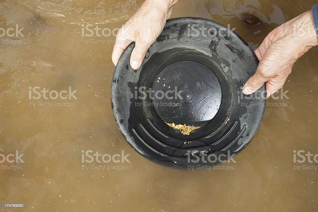 Gold Nuggets And Flakes In Pan With River Water Royalty Free Stock Photo