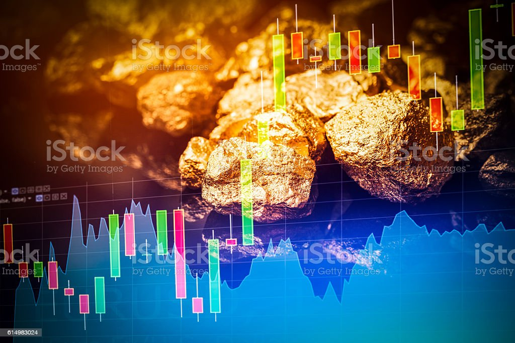 Gold nuggets on black background. stock photo