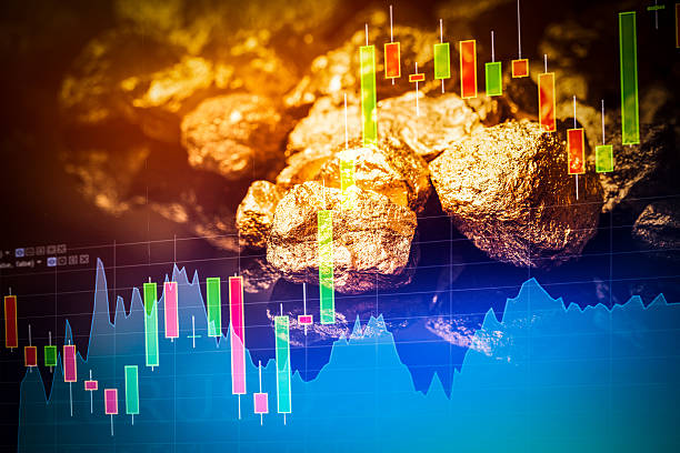 gold nuggets on black background. - gold mine stock photos and pictures