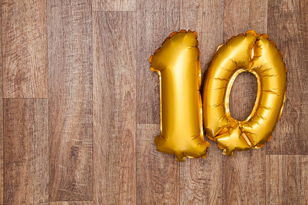 gold number 10 balloon - number 10 stock photos and pictures