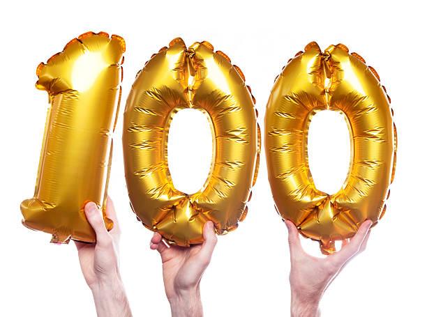 gold nummer 100 ballons - nummer 100 stock-fotos und bilder