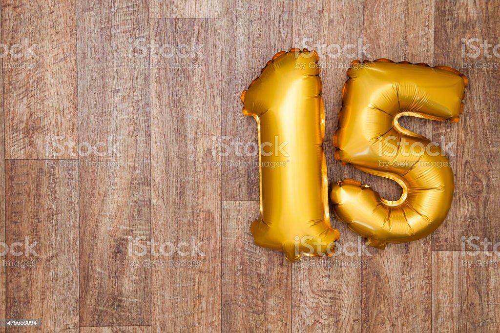 Gold Nummer 15 Ballon – Foto