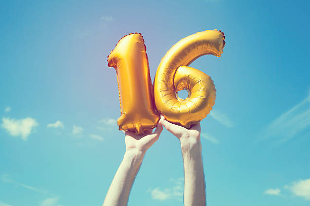 gold number 16 balloon - number 16 stock photos and pictures