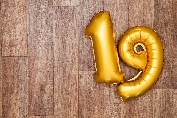 gold number 19 balloon - number 19 stock photos and pictures