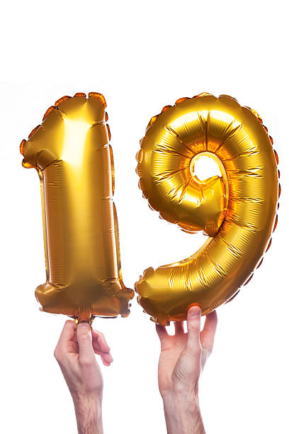 gold number 19 balloons - number 19 stock photos and pictures