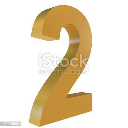 istock 3D Gold Number 2 Isolated White Background 474746550