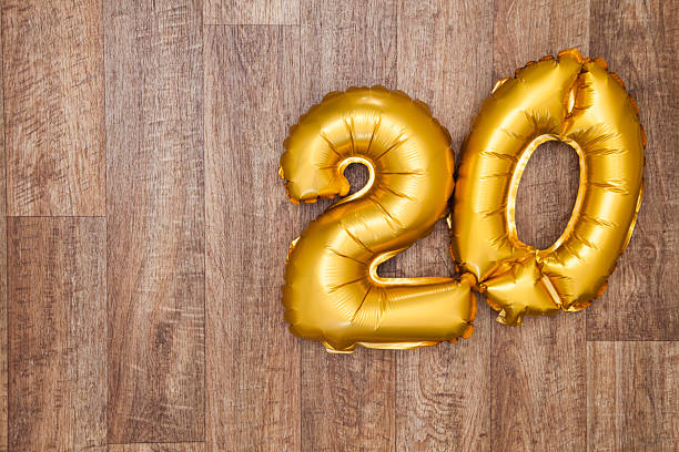 gold number 20 balloon - number 20 stock photos and pictures