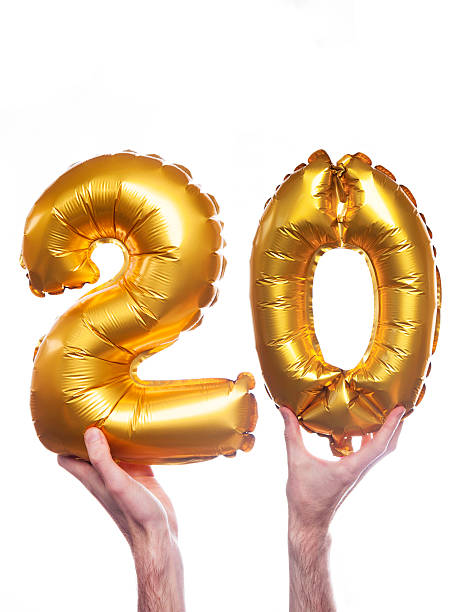 gold number 20 balloons - number 20 stock photos and pictures