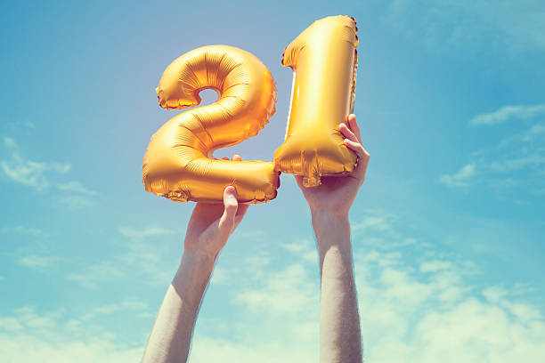 gold number 21 balloon - number 21 stock photos and pictures
