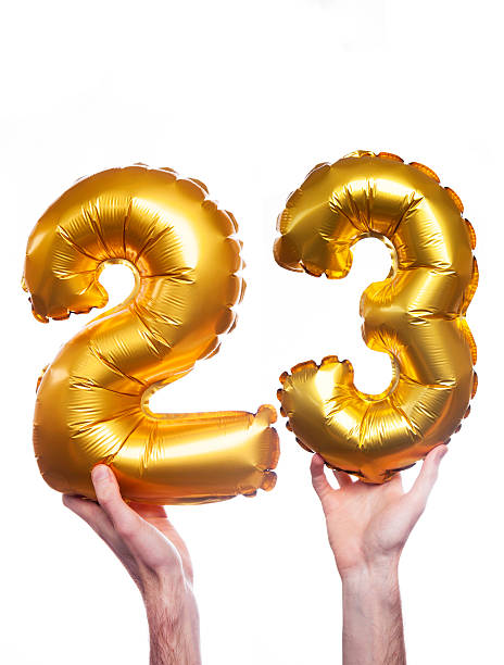 gold number 23 balloons - number 23 stock photos and pictures