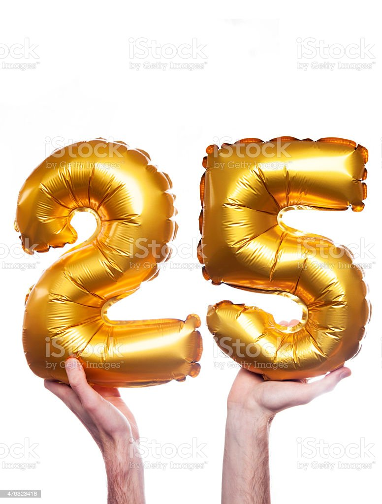 Gold number 25 balloons stock photo