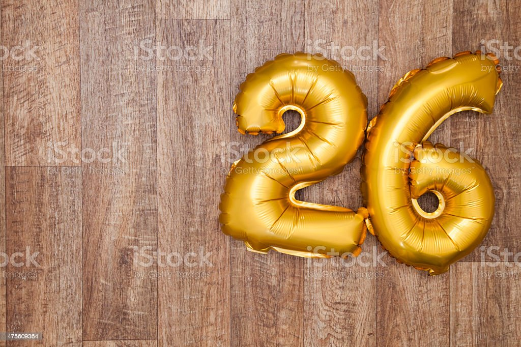 Gold number 26 balloon stock photo