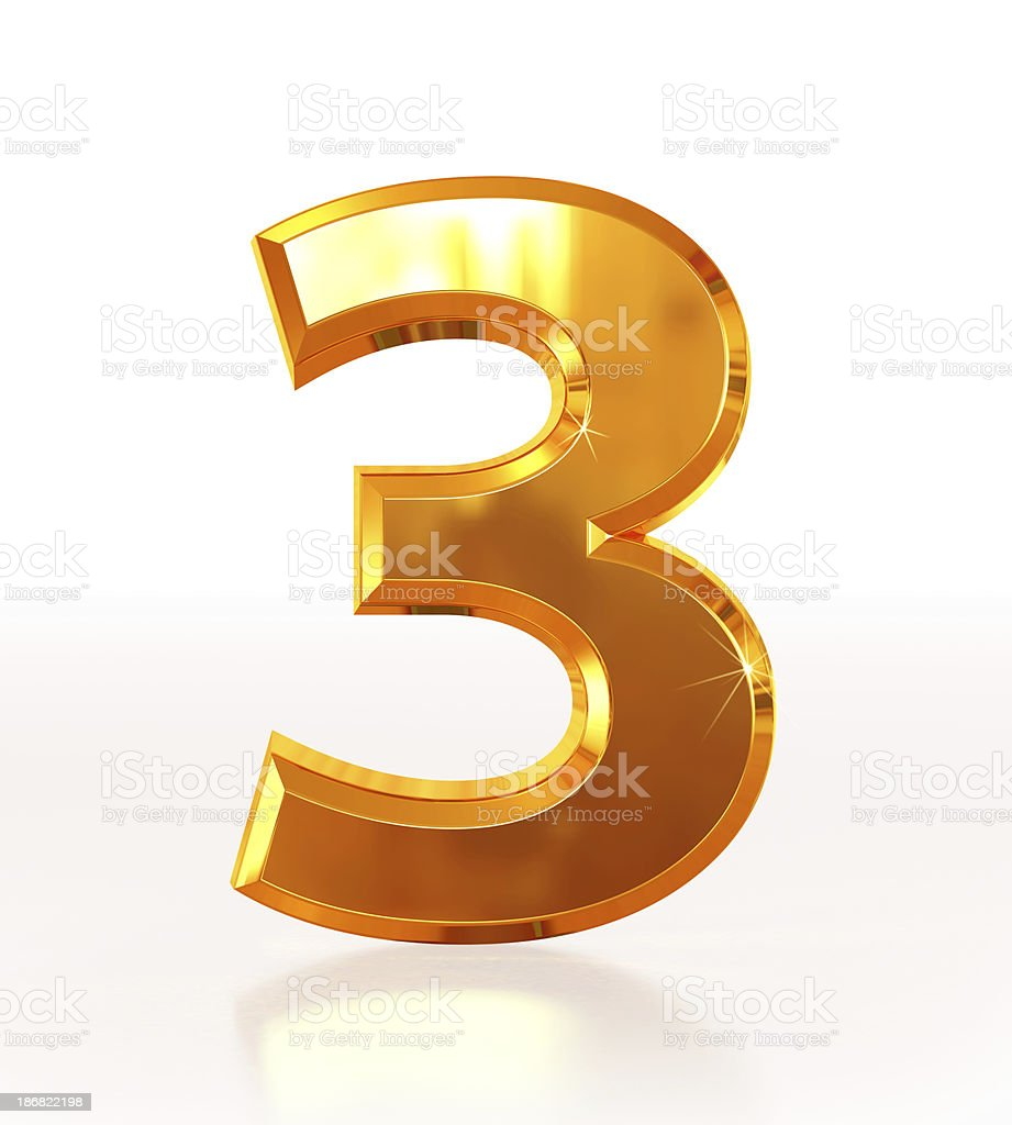 Gold Number 3 royalty-free stock photo