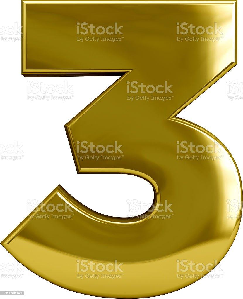 Gold Number 3 (Three) stock photo