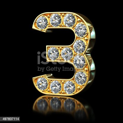 istock Gold Number 3 With Diamonds 497837114