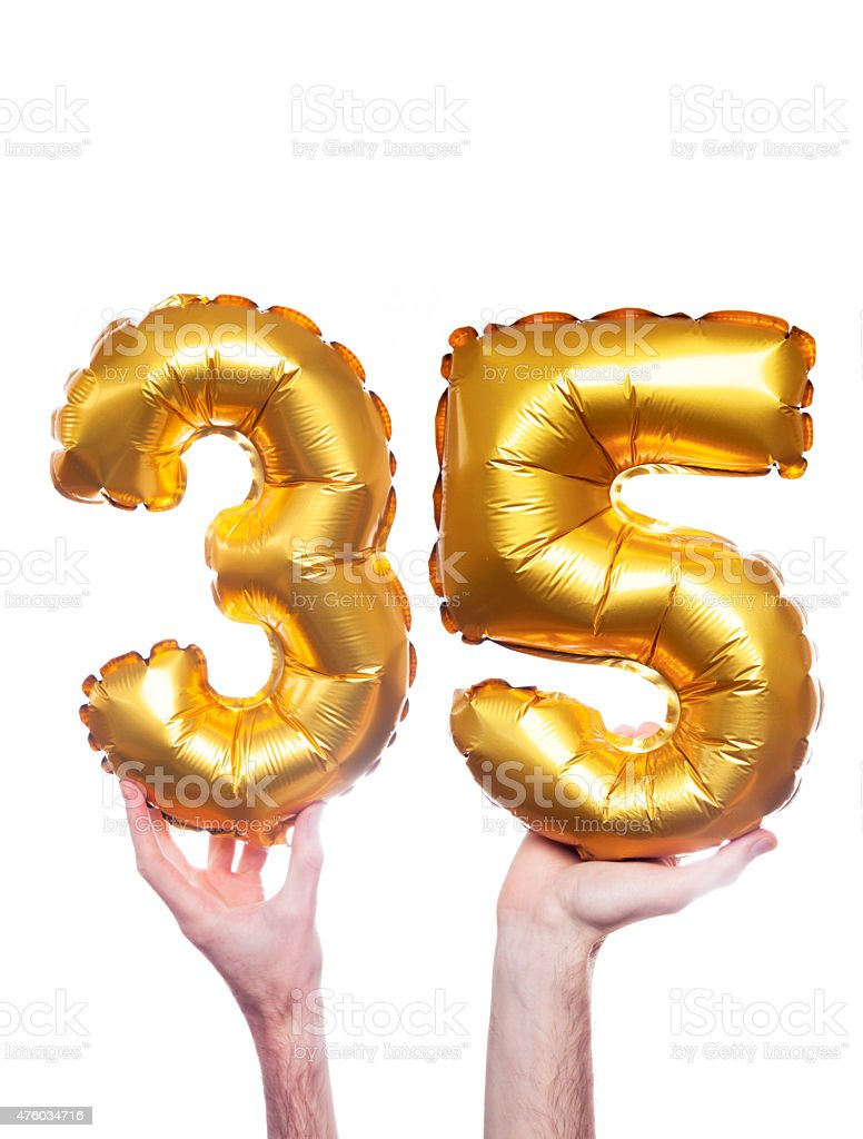 Gold Number 35 Balloons