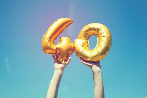 Gold number 40 balloon stock photo