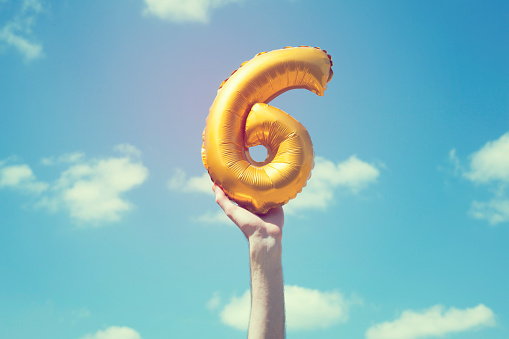 Gold Number 6 Balloon Stock Photo - Download Image Now