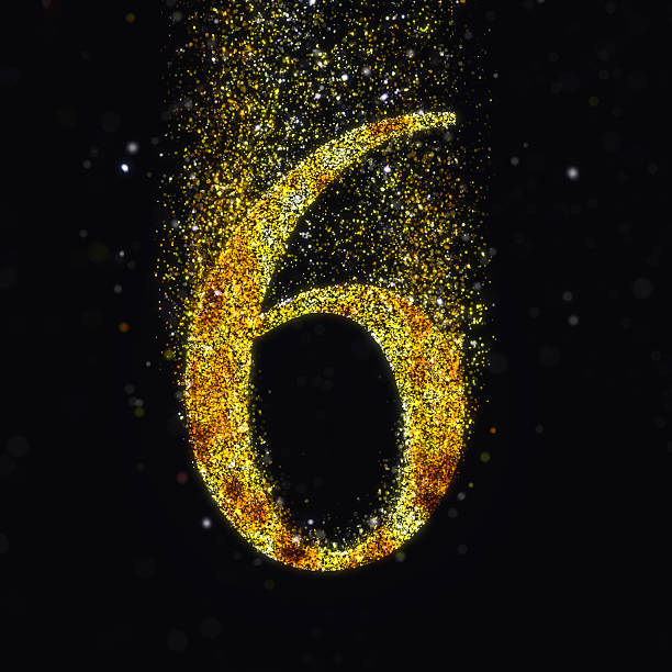 gold number 6 - number 6 stock photos and pictures