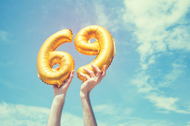 gold number 69 balloon - number 69 stock photos and pictures