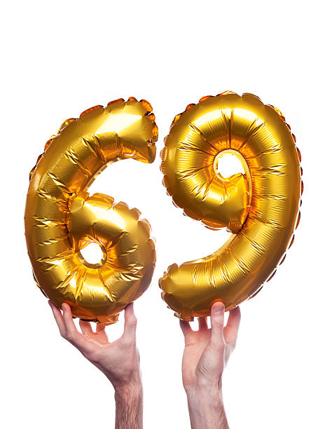gold number 69 balloons - number 69 stock photos and pictures
