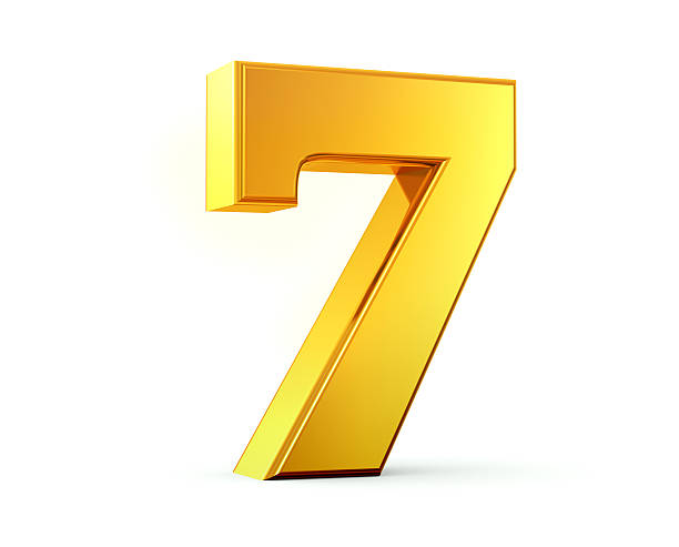 Gold Number 7 3D rendering of number seven made of gold with reflection isolated on white background. number 7 stock pictures, royalty-free photos & images