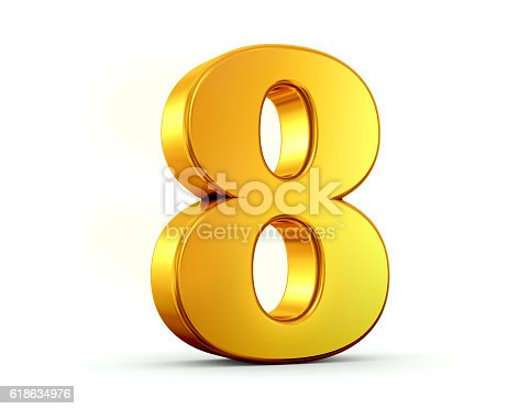 3D rendering of number eight made of gold with reflection isolated on white background.