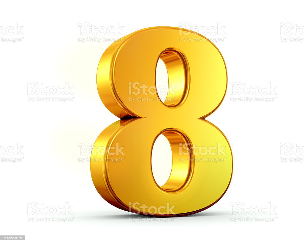 Gold Number 8 stock photo