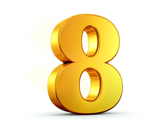 gold number 8 - number 8 stock pictures, royalty-free photos & images