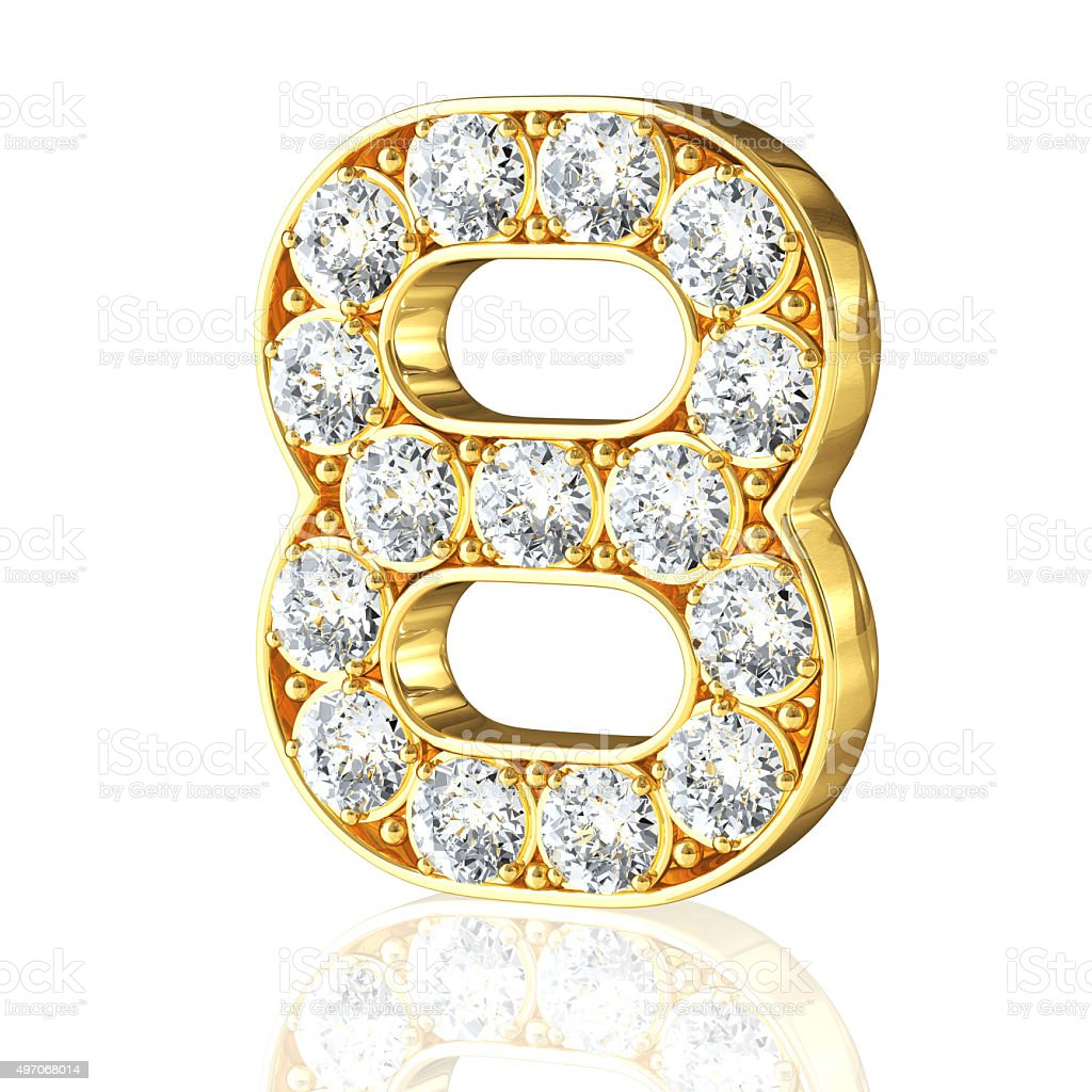 Gold Number 8 With Diamonds stock photo