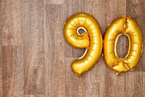 gold number 90 balloon - number 90 stock photos and pictures