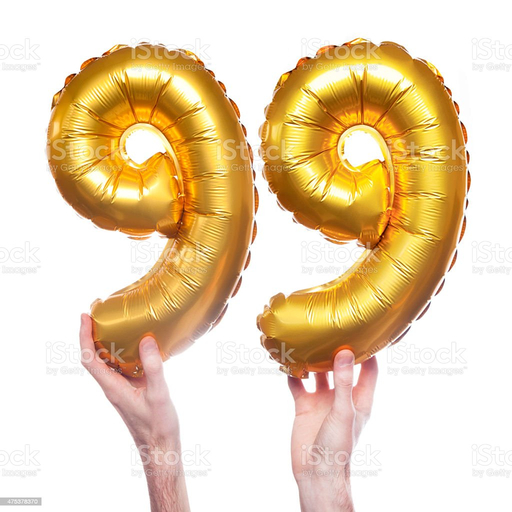Gold Number 99 Balloons Royalty Free Stock Photo