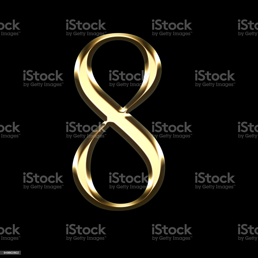 gold number eight 3D illustration stock photo