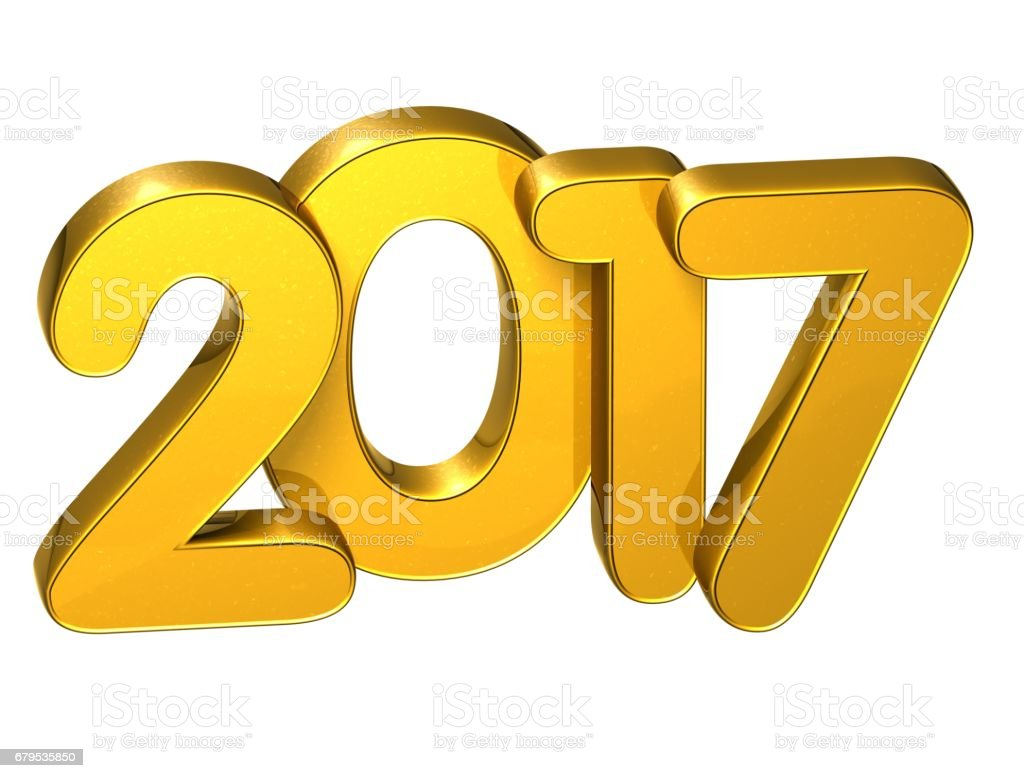 3D Gold Number New Year 2017 on white background royalty-free stock photo