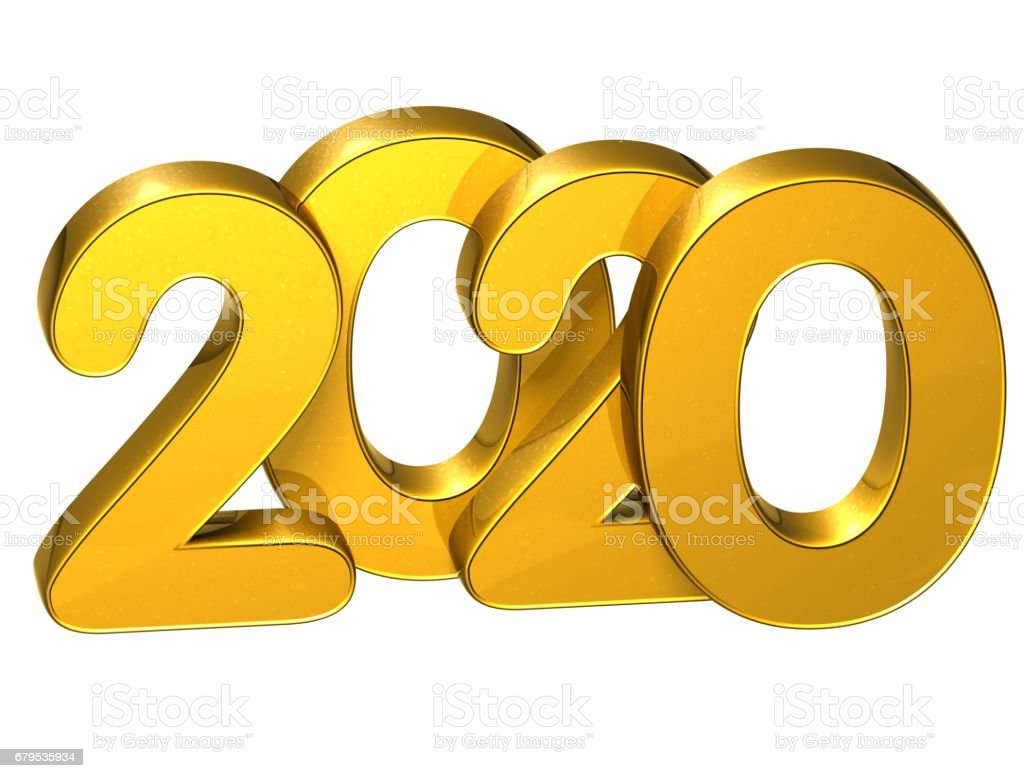 3D Gold Number New Year 2020 on white background stock photo