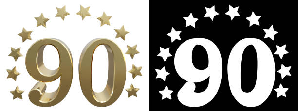 gold number ninety, decorated with a circle of stars - number 90 stock photos and pictures