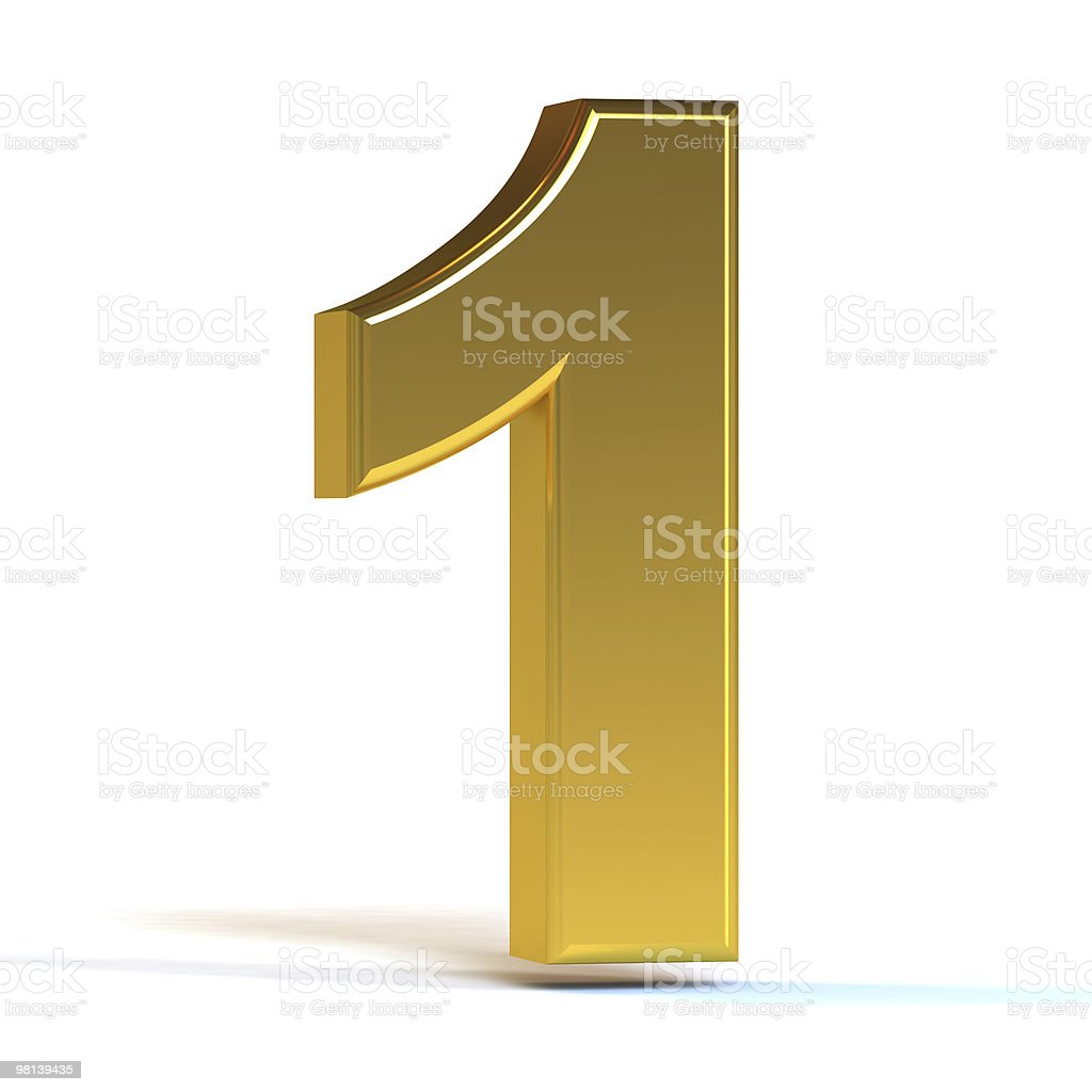 A 3D, gold number one against a white background royalty-free stock photo