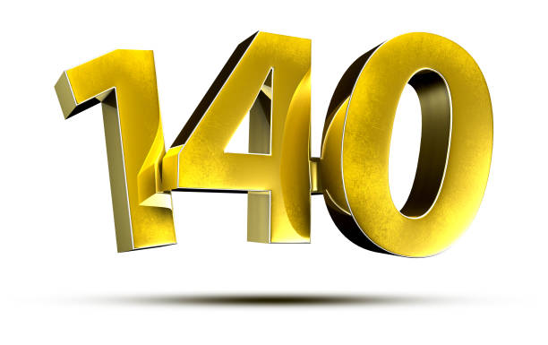 140 gold number. stock photo