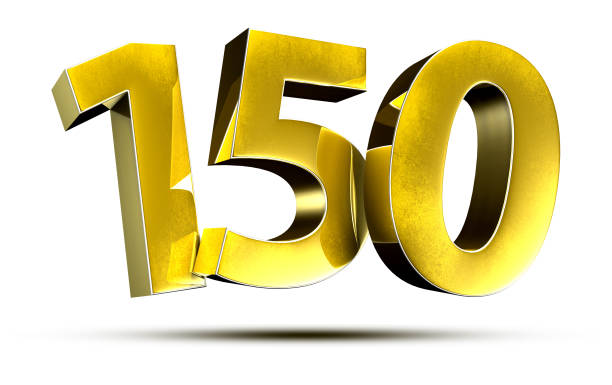 150 gold number. stock photo